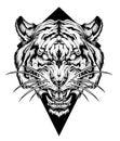 Tiger head tattoo. Dot work style. vector illustration.