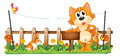 A tiger holding an empty wooden signboard near the fence illustration of on white background Stock Image