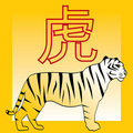 Tiger and japanese and chinese horoscope hieroglyp Royalty Free Stock Photo
