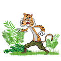 Tiger in the jungle walk through Royalty Free Stock Image