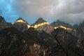 Tiger Leaping Gorge and Yulong Xueshan mountain range in Yunnan, China Royalty Free Stock Photo