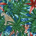 Tiger leopard tropical leaves lily seamless camo background