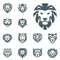 Tiger and lions vector head face silhouette badge strength predator power wildcat illustration power animal