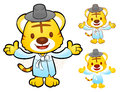Tiger mascot is a polite greeting korea traditional cultural ch character design series Royalty Free Stock Photo