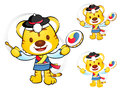 Tiger mascot to play in south korea are samulnori performance k traditional cultural character design series Stock Photo