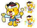 Tiger mascot to play in south korea are samulnori performance k traditional cultural character design series Royalty Free Stock Photos