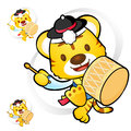 Tiger mascot to play in south korea are samulnori performance k traditional cultural character design series Stock Image