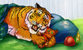 Tiger playing with toy tiger surprised real defending her favourite little plishie button eyes some pillows were torn while in bed Royalty Free Stock Image