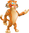 Tiger presenting cute isolated illustration Stock Image