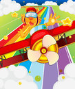 A tiger riding in a plane illustration of Royalty Free Stock Images