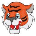 Tiger`s head. Cartoon style. Clip art for children.