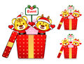 Tiger Santa Claus and deer mascot the event activity. Christmas Stock Photos