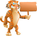 Tiger with sign isolated illustration Royalty Free Stock Images