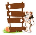 A tiger and the signboards illustration of on white background Stock Images