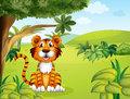 A tiger sitting near the tree illustration of Royalty Free Stock Photo