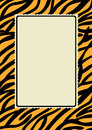 Tiger skin print border frame with a and lacy edge interior Royalty Free Stock Images