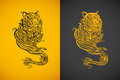 Tiger spirit illustration of in tattoo tribal style Royalty Free Stock Photography