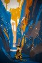 Tiger stalking in narrow rock wall illustration digital painting Stock Photography