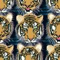 Tiger Tongue Out Seamless Patt...