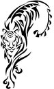 Tiger tribal with incorporated fern and leaves design Stock Image