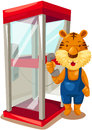 Tiger using phonebooth Royalty Free Stock Images