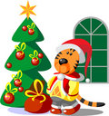 Tiger winter xmas color 03 Royalty Free Stock Photo