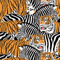 Tiger and zebra seamless pattern.