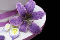 Tigerlily orchid in purple with calla lillies on a wedding cake Royalty Free Stock Photo
