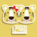Tigers design over dotted background illustration Royalty Free Stock Images