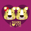 Tigers design over dotted background vector illustration Stock Photography