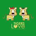 Tigers design over green background vector illustration Stock Photos