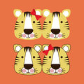 Tigers design over orange background vector illustration Stock Photo