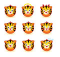 Tigers smiley set of in the shape of a circle Stock Photos