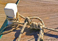 Tight knot in a greek fishing boat Royalty Free Stock Image