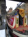 Narrowboat entering lock Royalty Free Stock Photo