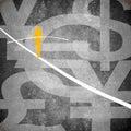 Tightrope walker and money symbol digital illustration Royalty Free Stock Photo