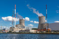 Tihange nuclear power station at the meuse river walloon province of liège belgium Royalty Free Stock Images