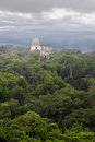 Tikal temple a view of one of the temples at the archeological site of in present day guatemala Royalty Free Stock Photo