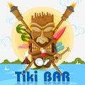 Tiki bar poster with tribal mask