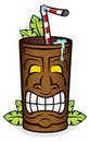Tiki Cup With Palm Leaves Royalty Free Stock Image