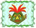Tiki with Headdress in a Vine Frame Royalty Free Stock Photography
