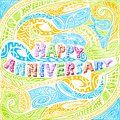 Tiki style Happy Anniversary typography Stock Photo
