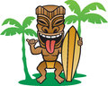 Tiki surfer illustration of a making the shaka sign Stock Photo