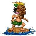 Tiki surfing beach