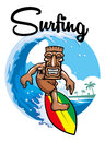 Tiki surfing Royalty Free Stock Photo