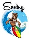 Tiki surfing Royalty Free Stock Photo