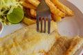 Tilapia fish steak on a white plate. Royalty Free Stock Photo