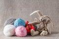 Tilda rabbit doll with clew and cristmas ball christmas Stock Photos