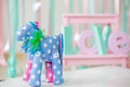 Tilde toy blue handmade horse Royalty Free Stock Image