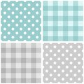 Tile vector blue and grey pattern set with polka dots and checkered plaid Royalty Free Stock Photo